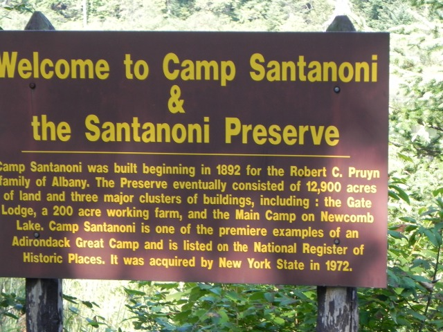 Sign at entrance to road leading to Great Camp Santanoni