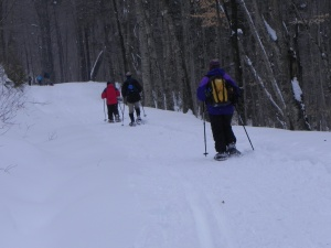 Those on snow shoes trek into the Great Camp
