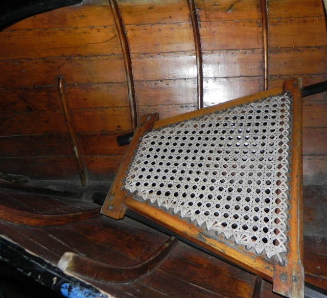 Bow seat of McCafferty guideboat.