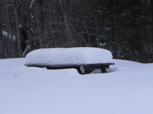Snow covered picnic table on the sight of the caretaker's house.