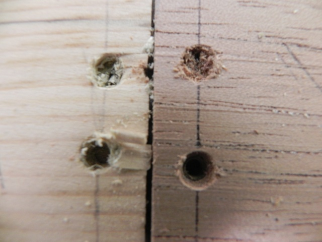 Results of the screw test. White pine is on the left while Spanish cedar is on the right.  Note the chipping in the white pine plank, particularly around the lower hole.