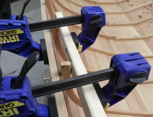 Wale being clamped to remove a gap between the wale and the sheer plank.