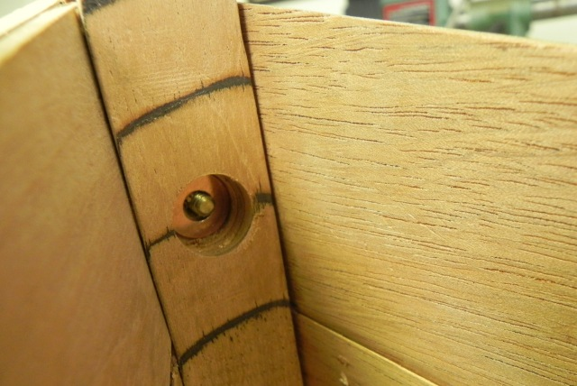 Hole drilled on the inside of the stem to accommodate the painter ring fastener.