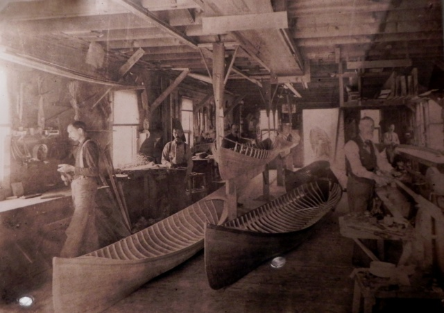 A view of the Parson's Brother's shop taken around the turn of the century.  Note the guideboat suspended from the ceiling.