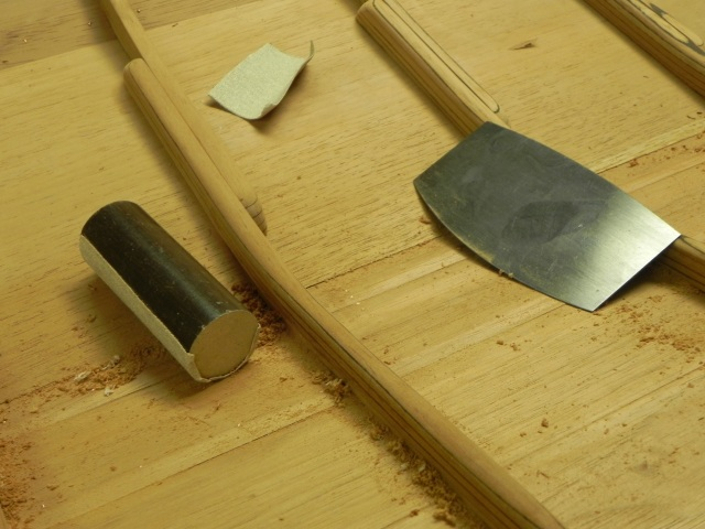 Tools for smoothing the inside of the hull.