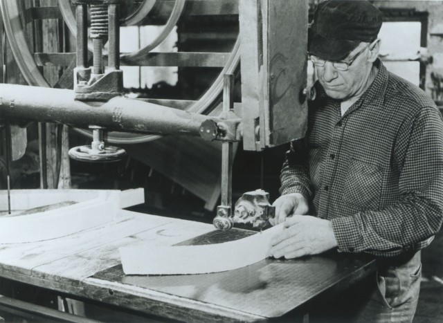 Willard cutting ribs from root stock.  Photo courtesy of the Adirondack Museum.