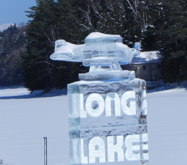 Float plane ice sculpture