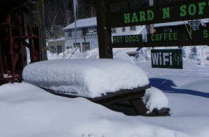 Picnic bench covered with snow.