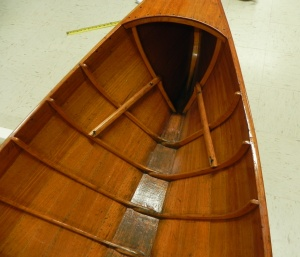 """Stern of Chase boat showing """"ears"""" on the last rib that support the seat cleat."""