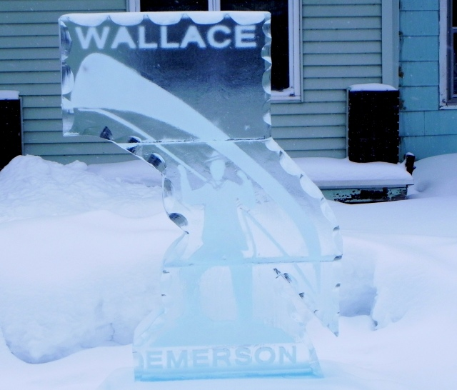Ice sculpture of Wallace Emerson carrying a guidebot.
