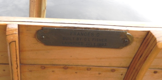 Nameplate on the Frances C guideboat.