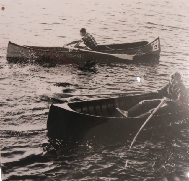 Howard  Howard Seaman and his son John racing their guideboats.  Notice the flex on John's oar.