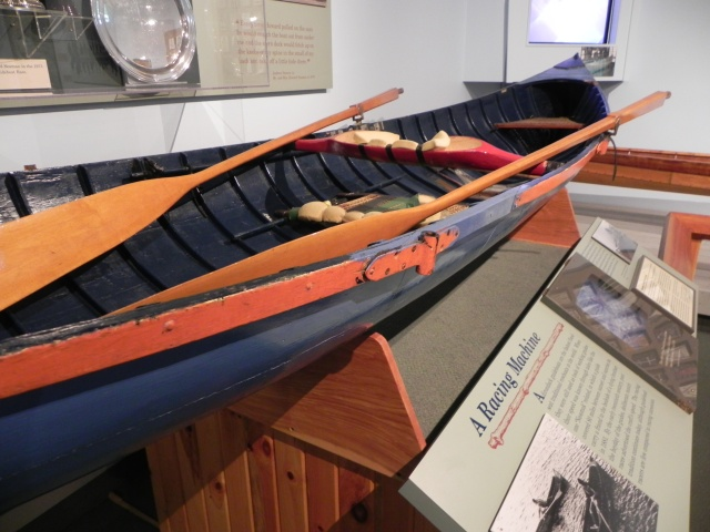 Howard Seaman's racing guideboat on exhibit at the Adirondack Museum.
