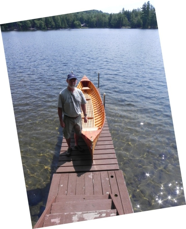 Dave with his newly completed guideboat at Lake Eaton.