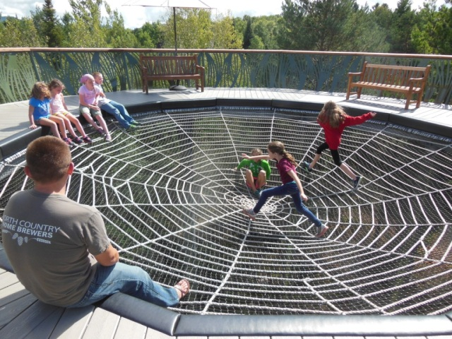 Kids enjoying the spider web.