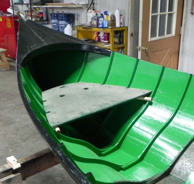 The stern end of the Raider being restored showing what may be the original seat.