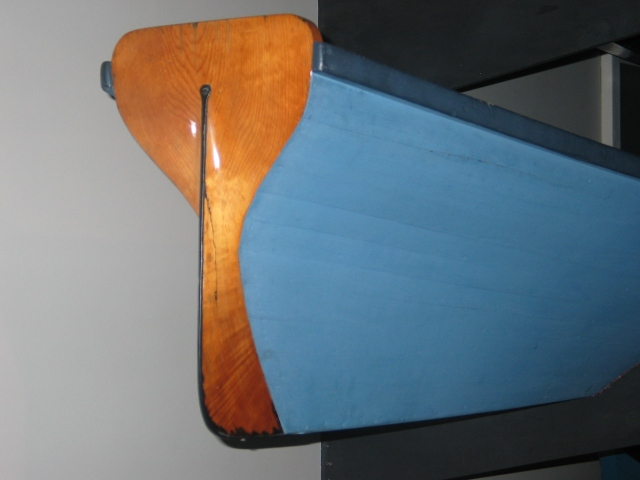 Stern of guideboat made by Reuben Cary about 1870.