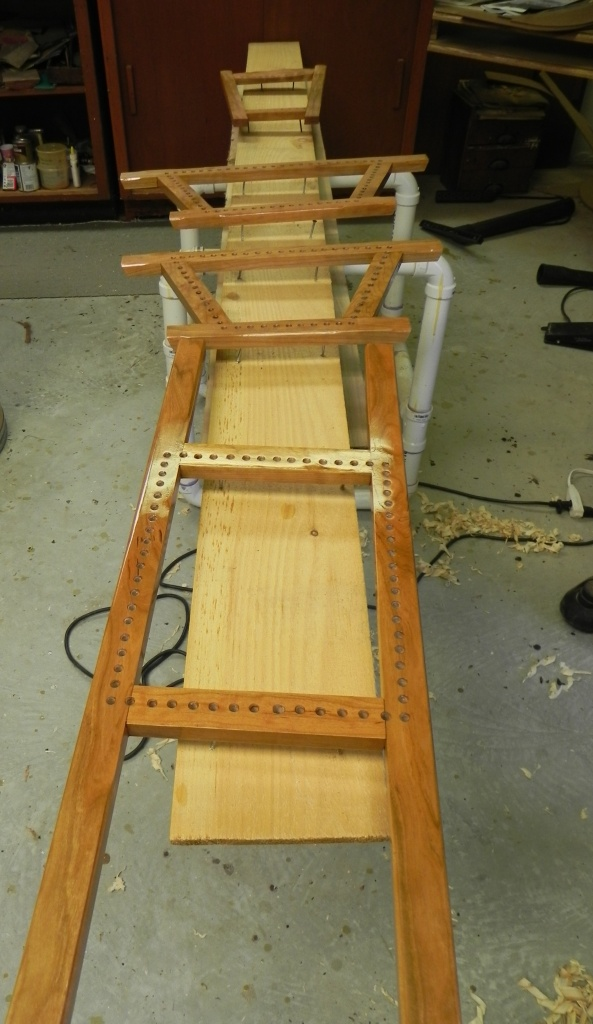 Finished guideboat seat frames ready for caning.