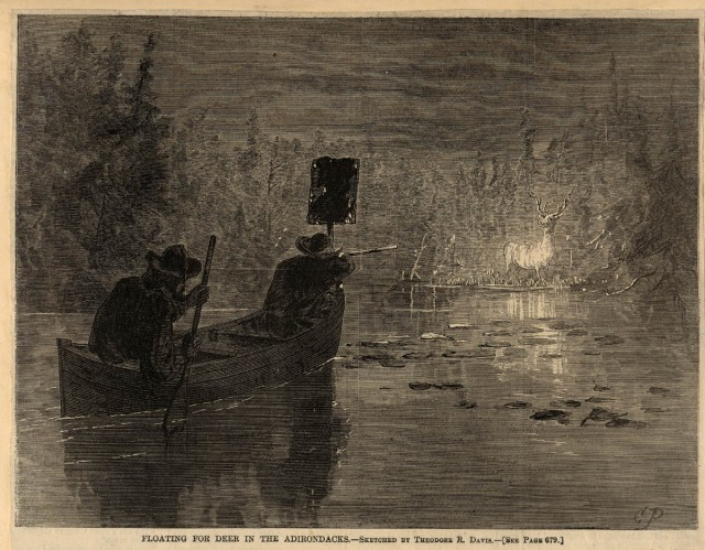 Floating for deer in the Adirondacks, a sketch by Theodore Davis done in 1868.  Photo courtesy of the Adirondack Museum.